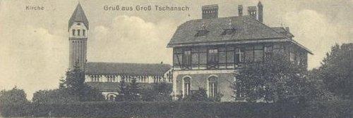 Widok na plebanię oraz księski Kościół od strony ul. Świątnickiej w roku 1915.