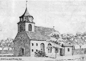 Kościół w Trestnie wg ryciny arch. Ericha Graua z 1933 r.