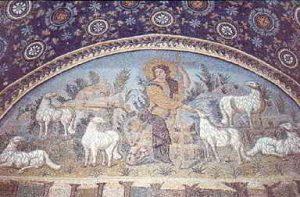 Dobry Pasterz pomiędzy owieczkami, prezbiterium, Ravenna, VI w. n.e.