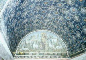 Sklepienie kolebkowe, na mozaice Dobry Pasterz pomiędzy owieczkami, Ravenna, VI w. n.e.
